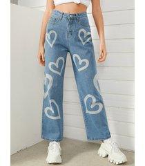informal de pierna recta con estampado love graffiti jeans