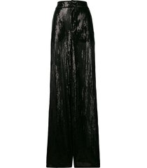 dsquared2 sequin embroidered palazzo trousers - black
