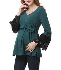 women's kimi and kai clara peasant maternity blouse, size small - green