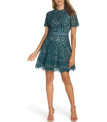 women's bb dakota on list short sleeve lace fit & flare dress, size 8 - green
