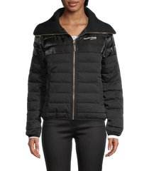 roberto cavalli sport women's channel-quilted puff jacket - black - size s