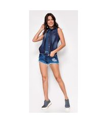 shorts hot pants jeans zait feminino elis com barras desfiadas azul