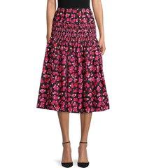 kenzo women's floral smocked skirt - deep fuschia - size 38 (6)