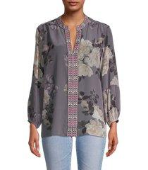 johnny was women's floral-print silk blouse - slate grey - size xs