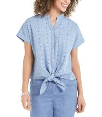 charter club petite dot-print tie-front cotton top, created for macy's