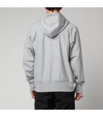 maison margiela men's m m logo zip hoodie - grey melange - 50/l