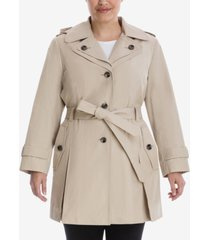 london fog plus size hooded belted trench coat