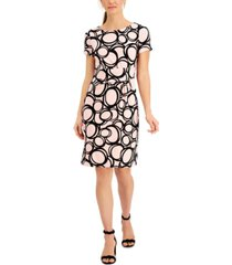 anne klein printed faux-wrap sheath dress