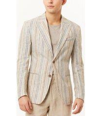 tallia men's metallic stripe slim fit blazer