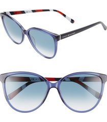 women's tommy hilfiger 57mm gradient cat eye sunglasses - blue/ dk blue gradient
