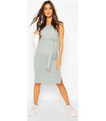 zwangerschap geribbelde midi jurk met strik, grijs
