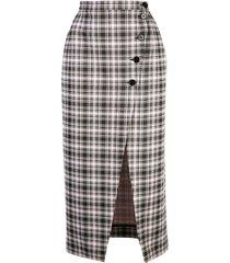 alexa chung high-waist plaid skirt - multicolour