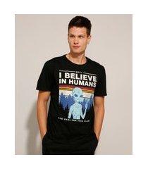 "camiseta de algodão i believe in humans"" manga curta gola careca preta"""