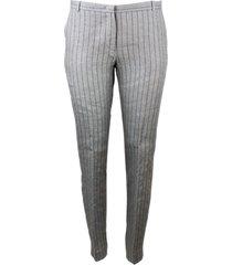 fabiana filippi montefalco trousers in striped linen with cigarette cut