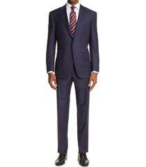 men's big & tall canali sienna soft jacquard plaid wool suit