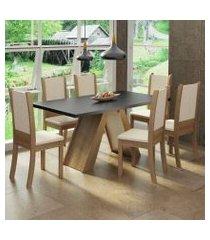 conjunto sala de jantar madesa paola mesa tampo de madeira com 6 cadeiras rustic/preto/crema/bege rustic