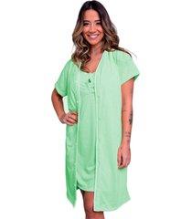camisola feminina com robe serra e mar modas malha lisa cãntia verde ãgua - verde - feminino - poliã©ster - dafiti
