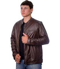 jaqueta prata couro 110 marrom