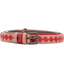 bottega veneta reversible intrecciato weave and snake embossed belt -