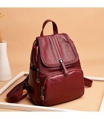 mochilas/ tejido de cuero de la pu mochila mujeres-rojo