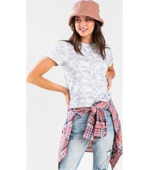 peirson tie-dye ruched back top - gray