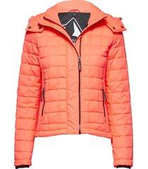hooded box quilt fuji jacket doorgestikte jas oranje superdry