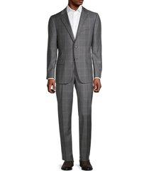hickey freeman men's milburn iim series regular-fit windowpane wool suit - grey - size 42 r