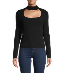 525 america women's cutout mockneck top - black - size m