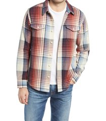 men's outerknown blanket cotton twill button-up shirt, size medium - red