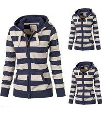 women plain zipper warm hoodie sweatshirt jumper sweater top hooded jacket coat