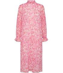 pleated georgette maxi dress galajurk roze ganni