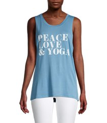 prince peter collection women's printed roundneck tank top - blue - size xs
