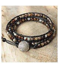 agate wrap bracelet, 'forest flower' (thailand)
