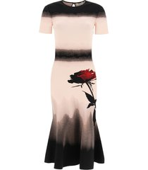 alexander mcqueen knit midi dress with rose