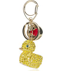 love moschino designer handbags, golden crystal duck key-chain