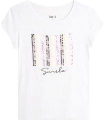 camiseta m/c con lentejuelas color blanco, talla l
