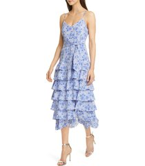 women's likely ariella floral print tiered ruffle dress, size 8 - blue