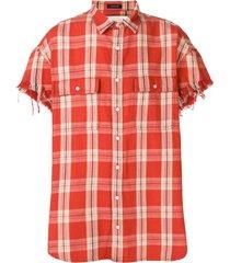 r13 frayed sleeve shirt - orange