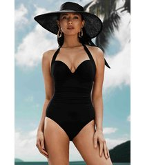 jets by jessika allen 50's gathered swimsuit black