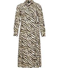 dress wrap plus long sleeves knälång klänning beige zizzi