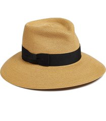 eric javits 'phoenix' packable fedora sun hat in natural/black at nordstrom