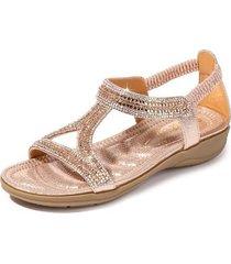sandalias de diamantes de imitación de triángulo hueco para mujer