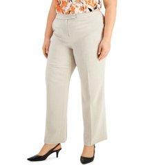 kasper plus size tab-waist stretch-crepe pants