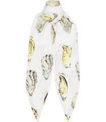 burberry oyster print silk hair scarf - white