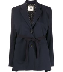 semicouture tie-fastening single-breasted blazer - blue