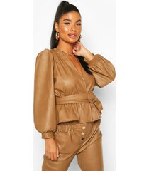 petite belted peplum leather look top, tan