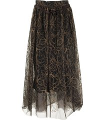 brunello cucinelli skirt raw embroidery tulle skirt