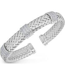 diamond braided cuff bracelet (1-1/4 ct. tw.) in sterling silver