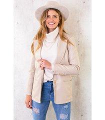 oversized leather blazer beige