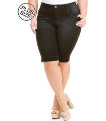 bermuda jeans feminina preta com elastano plus size